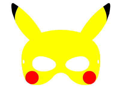 Maski do druku pokemon pikachu. Masks to print pokemon pikachu.