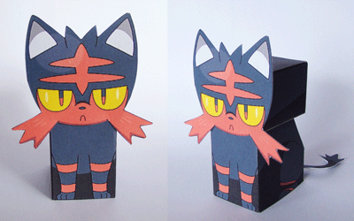 Papercraft. Pokemon Litten.